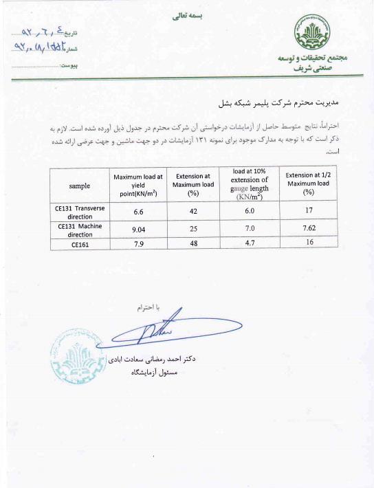 نتایج آزمایشگاه مجتمع تحقیقات و توسعه صنعتی شریف-محصول: CE-161 و CE-131